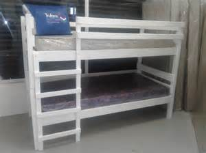 Double White Wooden Bunk Beds