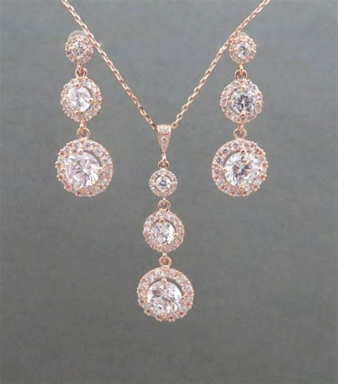 rose gold bridal jewelry rose gold necklace rose gold