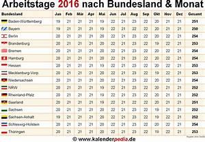Arbeitstage 2012 Berechnen : anzahl arbeitstage 2016 in deutschland nach bundesland monat ~ Themetempest.com Abrechnung