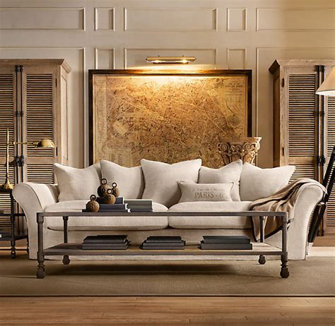 restoration hardware living room with camelback sofa pic