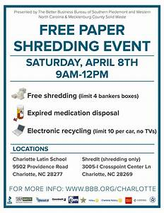 free paper shredding events in charlotte nc april 8 With document shredding charlotte nc