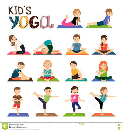 icones da ioga das criancas ajustados ilustracao  vetor