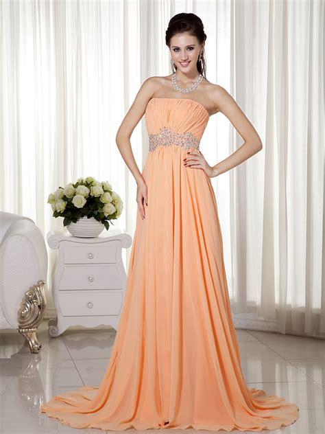 strapless sleeveless apricot orange chiffon dress