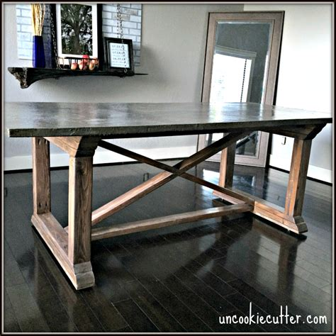 cement top dining table concrete dining table diy for less uncookie cutter