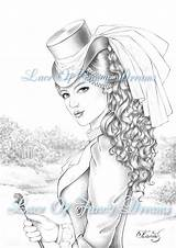 Coloring Victorian Adult Kleurplaat Vrouw Volwassen Printable Sheet Drawing Pdf Colouring Sheets Lady Coloriage Victoriaanse Sketch Om Af Grayscale Already sketch template