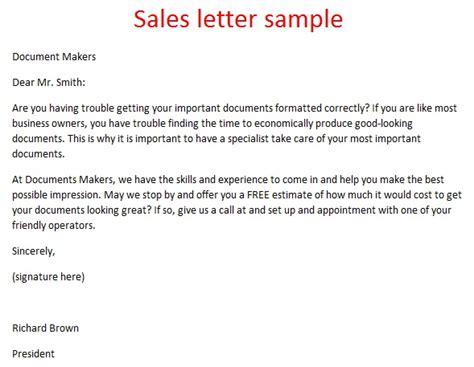 sales letter sample sales letter samples