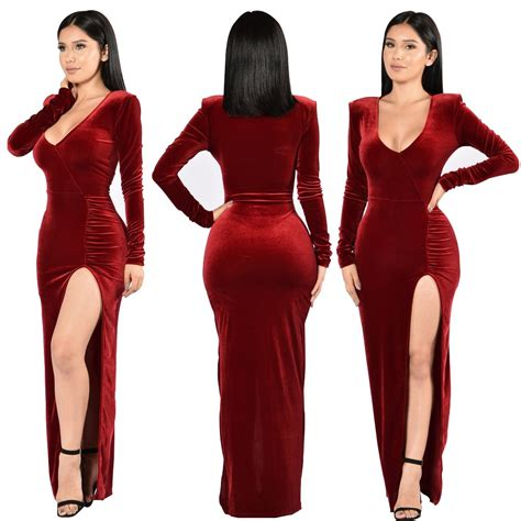Fetoo Party Dresses 2017 Velvet Bodycon Maxi Dress Women