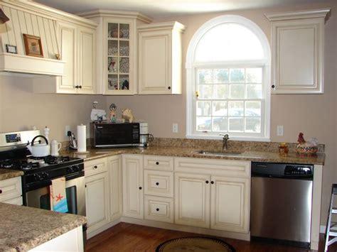 gray walls  distressed cream cabinets  pretty