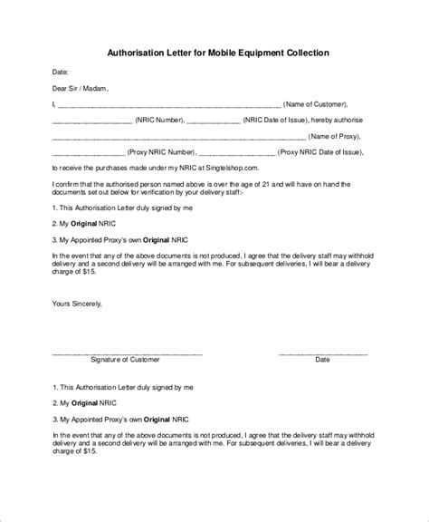 sample authorization letter  examples  word