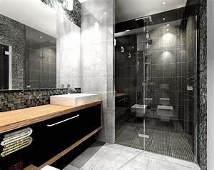 salle de bain noir et blanc ou en tons contrastes en 40 idees With salle de bain mosaique grise