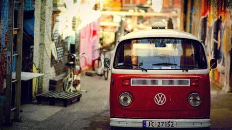 volkswagen bus rouge villes fond decran architectural apercu wallpapercom