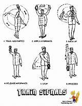 Train Coloring Pages Signals Conductor Army Trains Yescoloring Military Boys Ironhorse sketch template