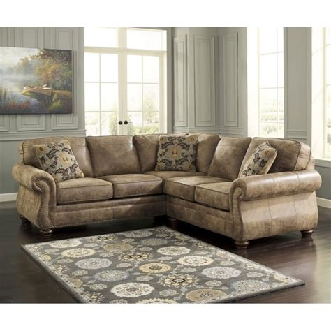ashley larkinhurst  piece faux leather sectional  earth