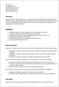 website content manager resume professional web content manager templates to showcase your talent myperfectresume