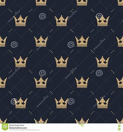 Crown Background Gold Pattern Fills Seamless Retro