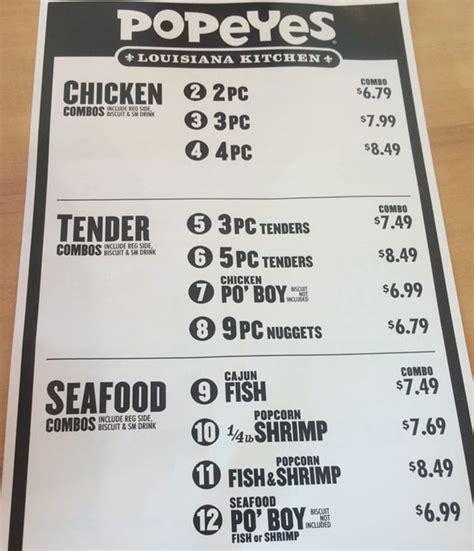 popeyes menu prices info slc menu
