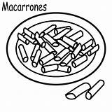 Coloring Macaroni Cheese Pages Para Macarrones Colorear sketch template