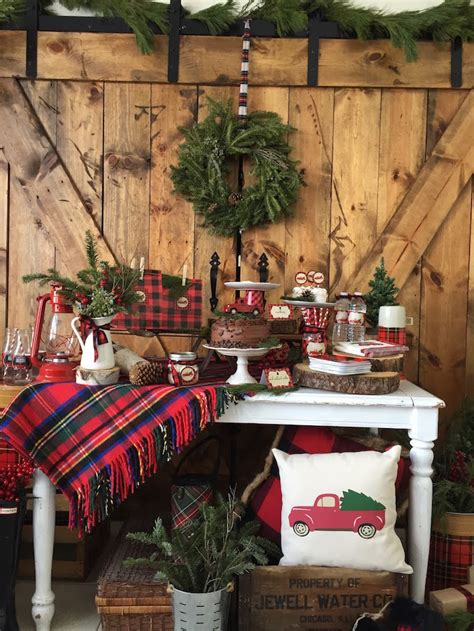 karas party ideas vintage rustic plaid christmas party