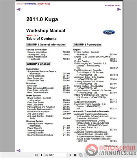 auto repair manuals ford kuga mk  workshop manual