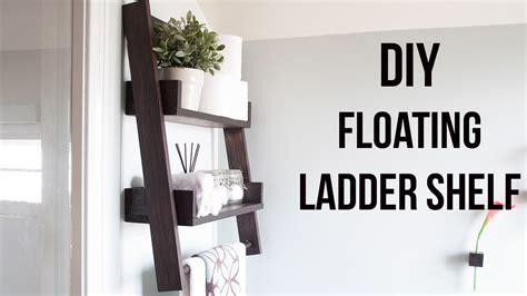 diy floating ladder shelf   build  plans
