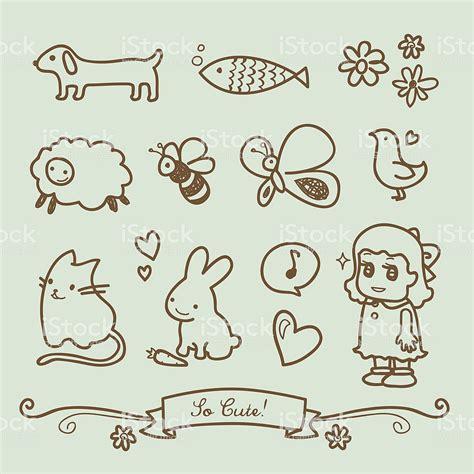 cute  girl doodle drawings stock vector art