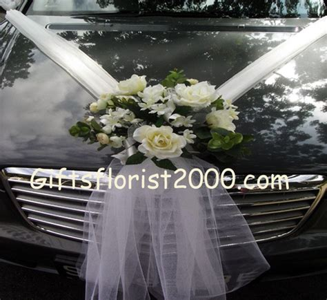 wedding flowers arrangement wedding car decoration silk