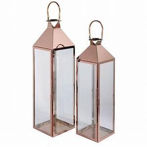 Lanterne Deco Interieur : 2 lanternes en verre et m tal cuivr heritage maisons du monde ~ Teatrodelosmanantiales.com Idées de Décoration