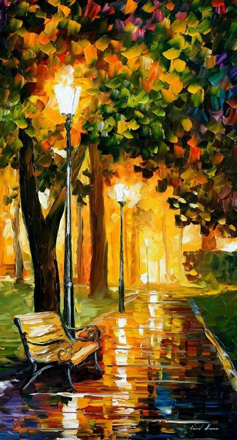 park lights palette knife oil painting  canvas