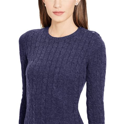 navy sweater dress ralph cable knit sweater dress in blue navy lyst