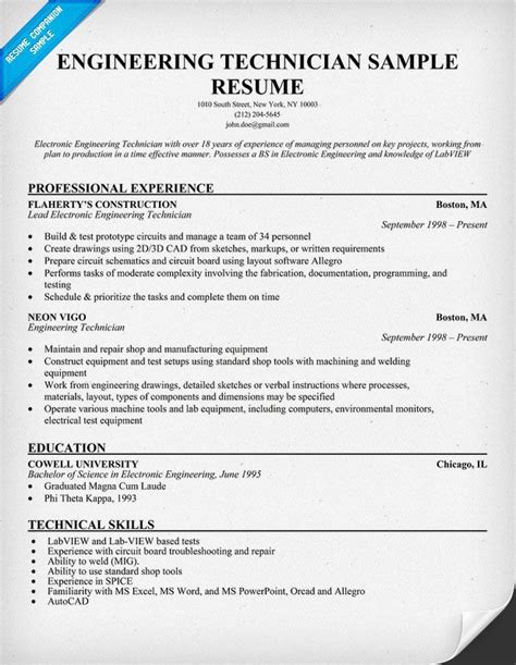 Area Of Interest In Resume For Civil Engineering by Engineering Technician Sle Resume Resumecompanion Engineering Sle