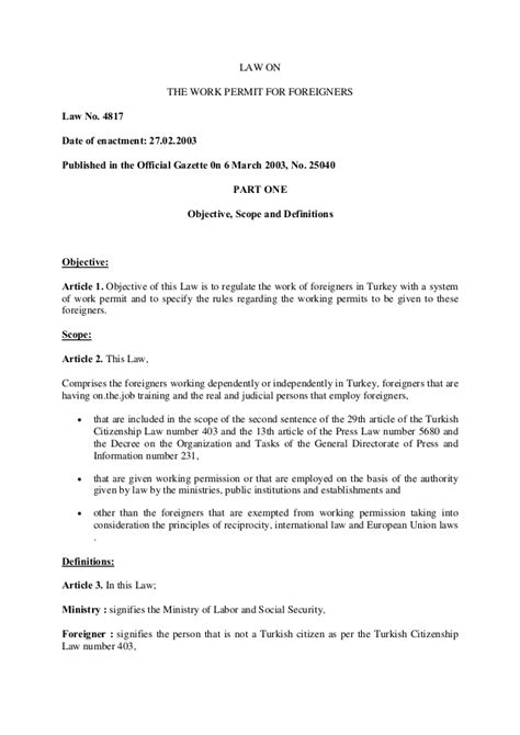 The Work Permit for Foreigners Law No. 4817 ENG