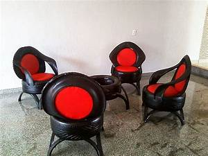 Recycled car tires turned into comfortable sofas by
