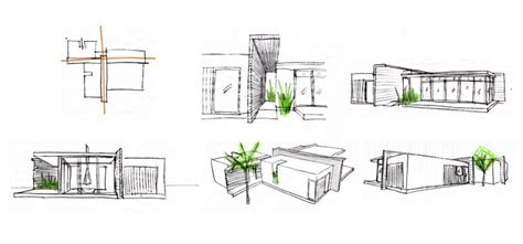 harmonious home plan sketch glass wood house design conceptual sketches