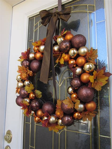 fall ornaments simple easy to make and inexpensive fall wreaths the fall leaves and ornament balls can be
