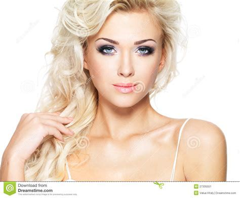Beautiful Blond Woman With Long Hair Stock Image   Image