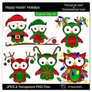 cute holiday Christmas owls clip art owls clipart green ...