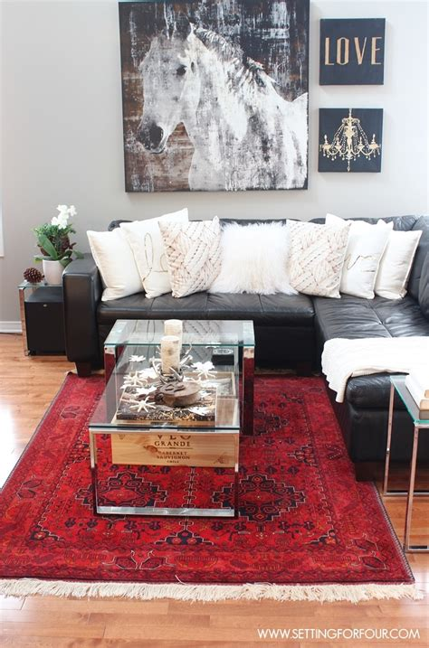 Rustic Glam Living Room + New Rug  Setting For Four