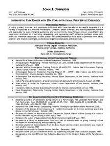 park ranger federal resume how to write a resume cover letter exles pdf 2017 simple resume template