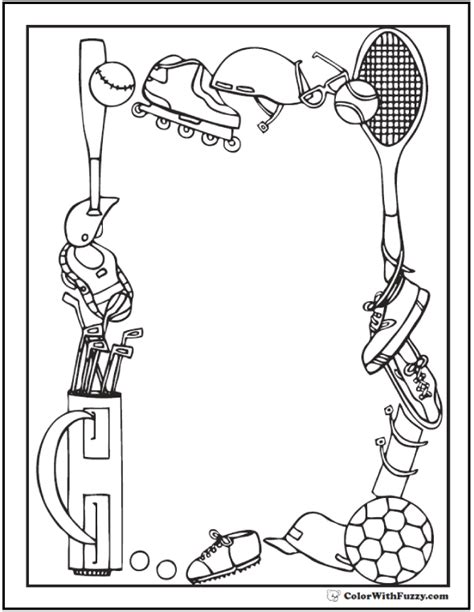 sports coloring sheets customize  print