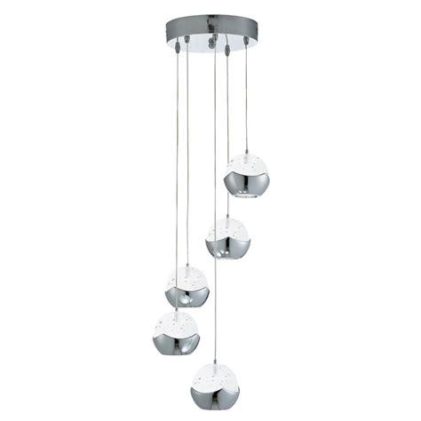 led glass pendant lights iceball led chrome 5 light multi drop pendant with glass