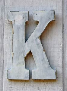 rustic wooden letter k distressed painted white12quot tall With 12 inch white wooden letters