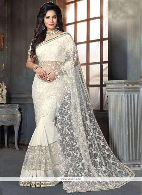 buy lavish georgette  white traditional designer sarees