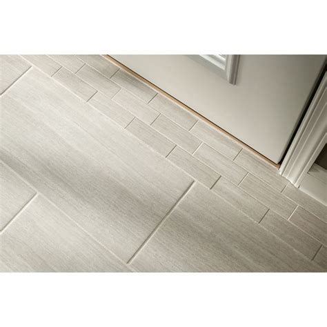 Lowes Bathroom Floor Tiles by Shop Style Selections Leonia Silver Glazed Porcelain