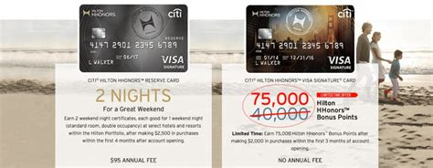 American express has two different increased bonuses on the hilton no annual fee card: 75,000 Hilton Points With Citi Hilton Visa Signature Card ...