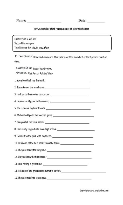First, Second And Third Person Point Of View Worksheet  Englishlinxcom Board Pinterest