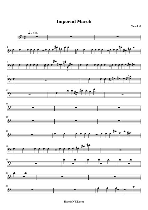 imperial march sheet music imperial march score