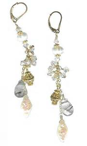 dangler earings rutilated quartz pearl goldfilled chandelier chain dangle