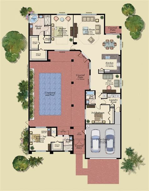 courtyard ranch mediterranean style house plans small spanish homes    shaped