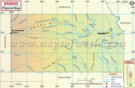 Physical Map Of Kansas, Kansas Physical Map