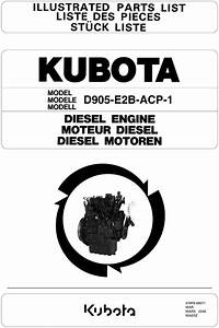 Kubota D905-e2b-acp-1 Diesel Engine Parts Manual